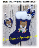In The Hoop Shib Inu Dog Stocking and Ornement Embroidery Machine Design Set