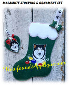 In The Hoop Malamute Dog Stocking And Ornament Embroidery Machine Design Set