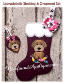 In The Hoop Labradoodle Stocking And Heart Ornament Embroidery Machine Design set