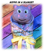 In The Hoop Hippo In A Blanket Embroidery/Sewing Machine Design