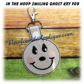In The Hoop Smiling Ghost Key Fob Embroidery Machine Design