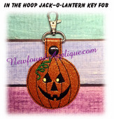 In the Hoop Jack O Lantern Pumpkin Key Fob Embroidery Machine Design