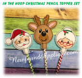 In The Hoop Christmas Pencil Topper Embroidery Machine Design set