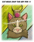 In the Hoop Cat Head Key Fob #1 Embroidery Machine Design