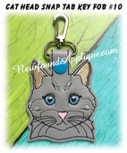 In the Hoop Cat Head Key Fob #10 Embroidery Machine Design