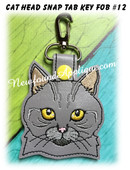 In the Hoop Cat Head Key Fob #12 Embroidery Machine Design