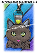 In the Hoop Cat Head Key Fob #14 Embroidery Machine Design