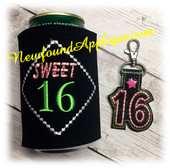 In The Hoop Sweet Sixteen Can Wrap and Key Fob Embroidery Machine Design Set
