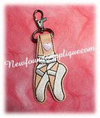 In The Hoop Ballerina Snap Key Fob Embroidery Machine Design