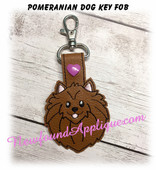 In The Hoop Polmeranian Dog Key Fob Embroidery Machine Design