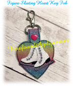 In The Hoop Figure Skate Heart Key Fob Embroidery Machine Design