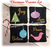 In The Hoop Christmas Coaster 2017  Embroidrey Machine Design Set