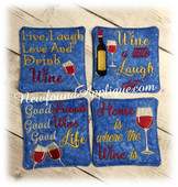 In The Hoop Wine Sayings Coaster Embroidery Machine Design Set