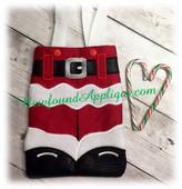 In The Hoop Santa Pants Tote Bag Embroidery Machine Design