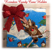 In The Hoop Reindeer Candy Cane Pencil Holder Ornament Embroiderey Machine Design