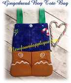 In The Hoop Gingerbread Boy Tote Embroidery Machine Design