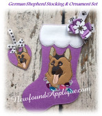 In The Hoop German Shephard Stocking and Heart Ornament Embroidery Machine Design Set