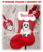 In The Hoop German St. Bernard Stocking and Heart Ornament Embroidery Machine Design Set