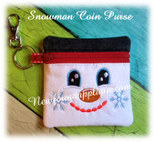 In the hoop Snowman Zipped Coin Purse Embroidery Machine Design