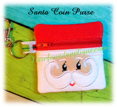 In The Hoop Santa Zipped Coin Purse Embroidery Machine Design