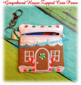 In the hoop Gingerbread House Zipped Coin Purse Embroidery Machine design