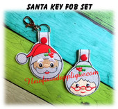 In the hoop Sant & Mrs Clause Key Fob Design Set