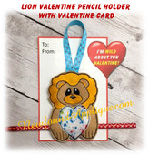 In The Hoop Lion Valentine Heart Pencil Holder Embroidery Machine Design