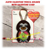 In the hoop Sloth Valentine Heart Pencil Holder Embroidery Machine Design