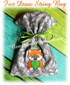 In the hoop Fox Draw String Bag Embroidery Machine Design