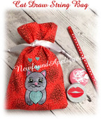 In The Hoop Cat Draw String Bag Embroidery Machine Design