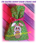 In The Hoop Easter Bunny Draw String Bag Embroidery Machine Design