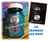 In The hoop Snowman Jar Wrap Embroidery Machine Design