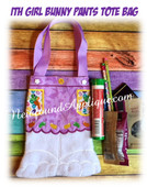 In The Hoop Girl Bunny Pants Tote Bag Embroidery Machine Design