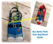 In the Hoop Boy Bunny Treat Bag Utensil Holder Embroidery Machine Design