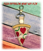 In The Hoop Pizza Pepperoni Heart Key Fob Embroidery Machine Design