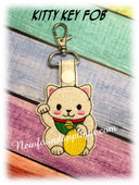 In The Hoop Chinese Kitty Key Fob Embroidery Machine Design