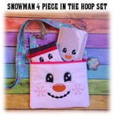 In The Hoop 4 Piece Snowman Embroidry Machine Design Set