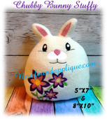 In The Hoop Chubby Bunnty Stuffy W Flowers for 5x7 and 8x10 hoop Embroidery Machine Design