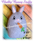 In The Hoop Chubby Bunnty Stuffy With Carrot for 5x7 and 8x10 hoop Embroidery Machine Design