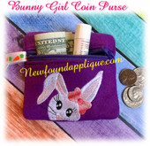 In The Hoop Bunny Girl Coin Purse/Earbud Case Embroidery Machine Design