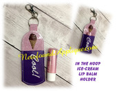 InThe Hoop Icecream Lip Balm Holder EMbroidery Machine Design