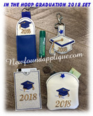 In The Hoop Graduation 2018 Key Fob, Lip Balm Holder, Gift Card Holder, & Coin Purse Embroidey Machine Set