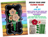 In The Hoop Flower & Jar Embroidery Machine Design Set
