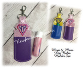 In The Hoop Mom And Mum Lip Balm Holder Embroidery Machine Design set