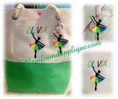 In The Hoop Ballerina With Rainbow Tutu Key Fob And EMbroidery Machine Design Set