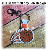 In The Hoop Basketball Key Fob Embroidery Machine Design