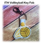 In The Hoop VolleyBall Key Fob Embroidery Machine Design