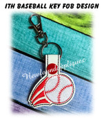 In The hoop Baseball Key Fob Embroidery Machine Design