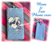 In The Hoop Mother And Son Phone Case Embroidery Machine Design