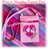 In The Hoop Mother And Daughter Zipped Bag Embroidery Machine Design